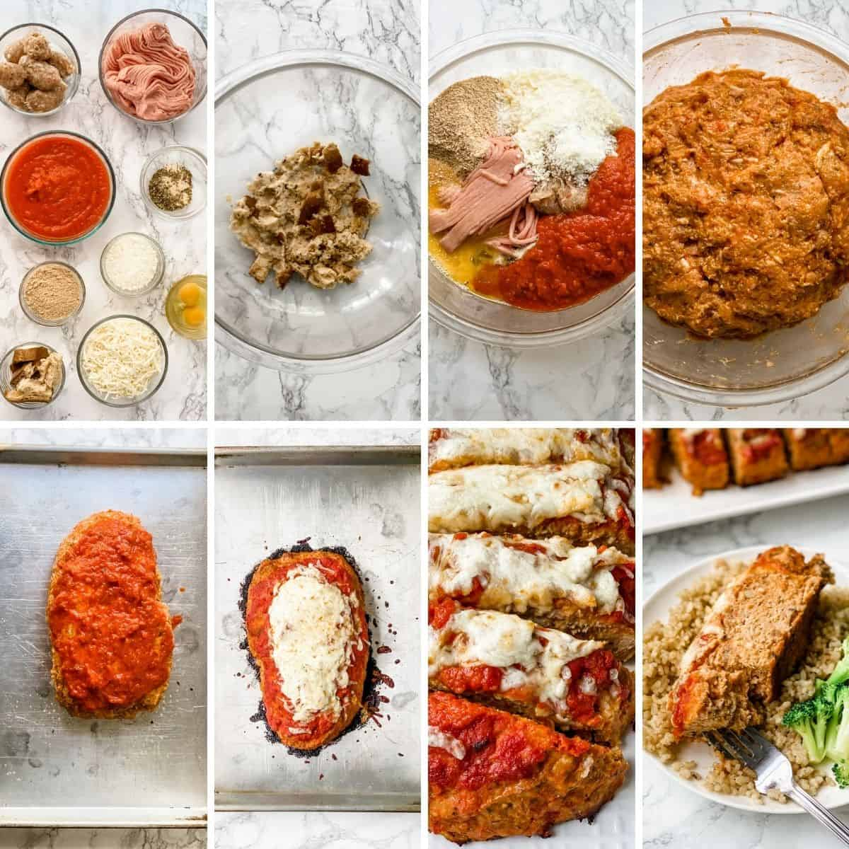 collage showing how to make Italian meatloaf